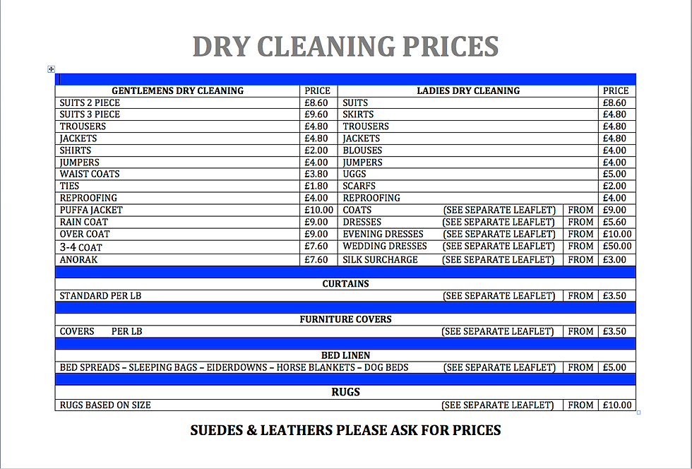 dry cleaning prices portsmouth launderette amp cleaners 4 garments for 163 12 00 30704