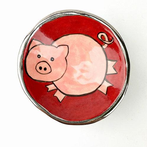 Ceramic Tiny cat Treat Bowl or Dipping Sauce Bowl (Piggy)