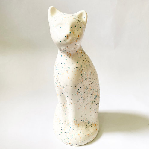 Speckle Cat Urn w/ Stopper