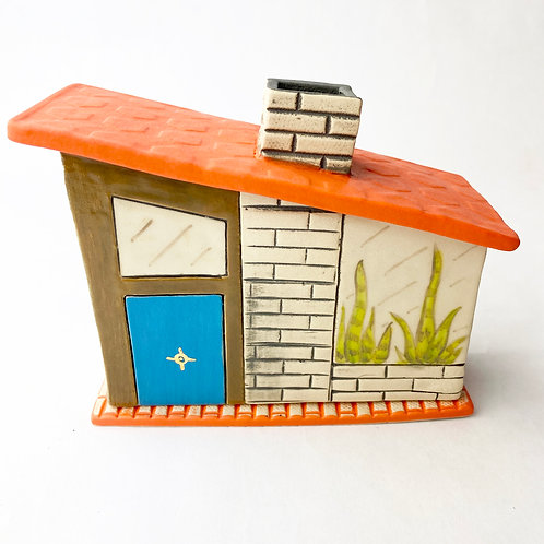 Mid Century Modern Brown House Incense Burner