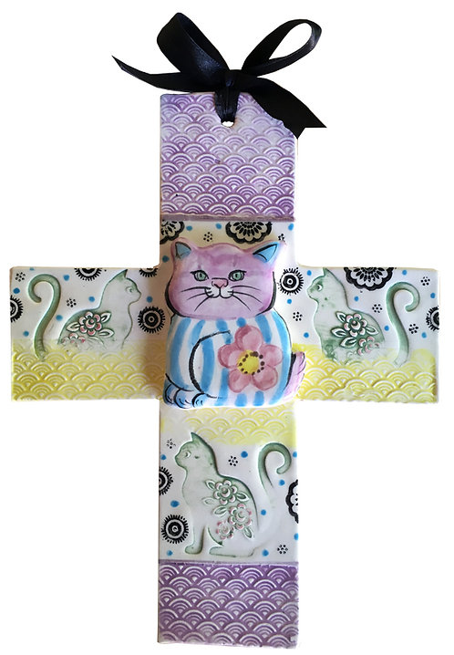 cat, ceramic, cross, handmade, Blue Domino, pet, baby, custom  gift