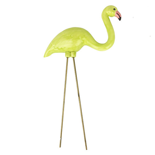 Chartreuse Ceramic Flamingo