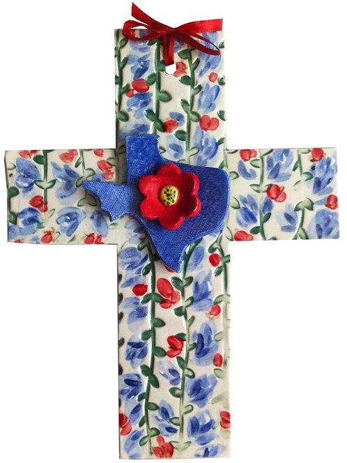Texas, baptism, christening, religious, communion, bluebonnets, shower, wedding, ceramic, cross, flower, Houston, blue domino