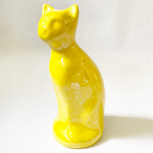 Yellow Cat Urn w/ Stopper