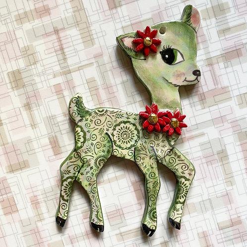 Vintage Style Green Flower Deer Ornament