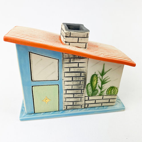 Mid Century Modern Turquoise House Incense Burner 2