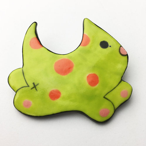 Buhoe Kitty Pins Chartreuse w/ Orange Dots
