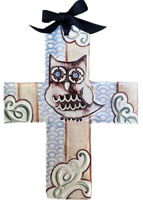 owl, baptism, christening, religious, communion, baby, shower, wedding, ceramic, cross