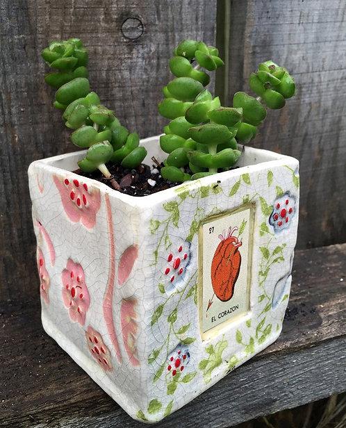 Lotería El Corazón (the heart) Succulent Planter