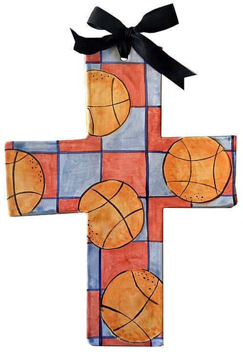 basketball, sports, baptism, christening, religious, communion, baby, shower, wedding, ceramic, cross
