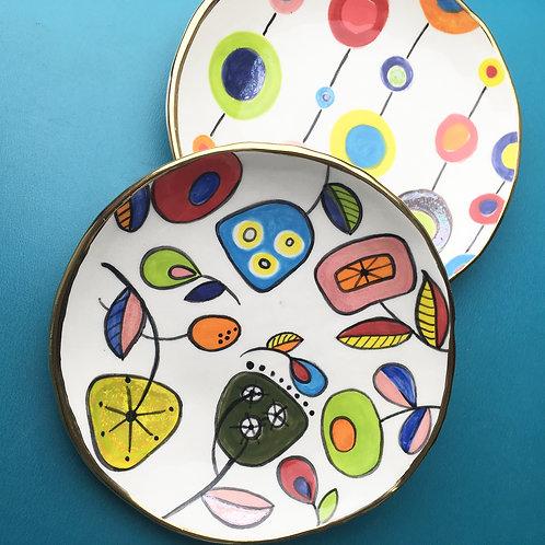 Ceramic Dessert Plate Atomic Flower