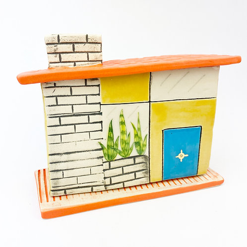 Mid Century Modern Yellow House Incense Burner