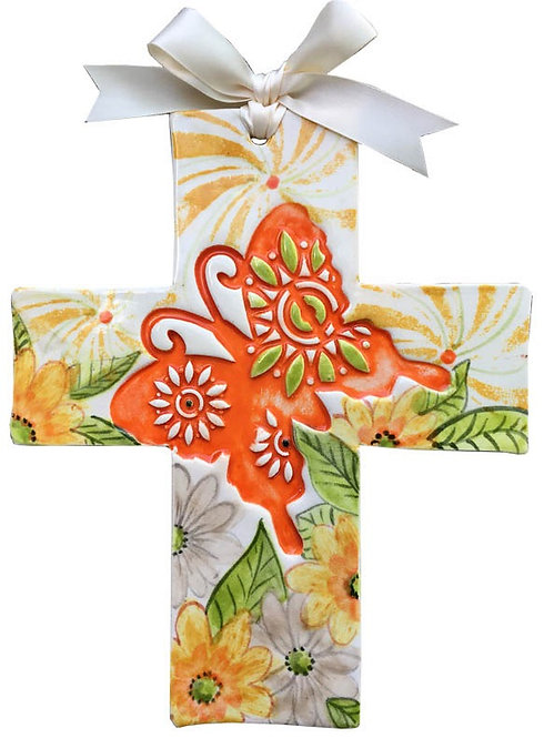 butterfly, baptism, christening, religious, communion, baby, shower, wedding, ceramic, cross
