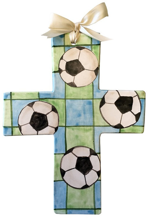 soccer, baptism, christening, religious, communion, baby, shower, wedding, ceramic, cross