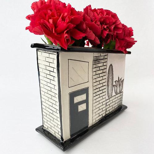 MCM House Vase Black & White