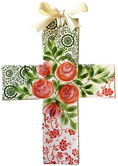 roses, baptism, christening, religious, communion, baby, shower, wedding, ceramic, cross