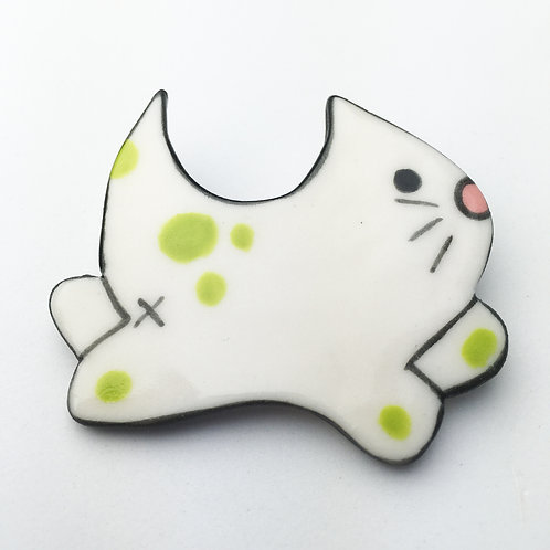 Buhoe Kitty Pins Chartreuse Dots