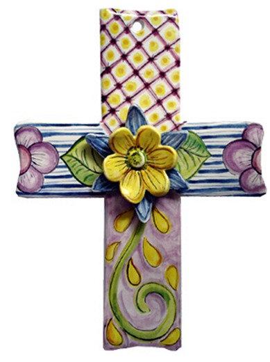 flower, cross, blue domino, ceramic, baptism, christening, religious, communion, baby, shower, wedding, ceramic, cross