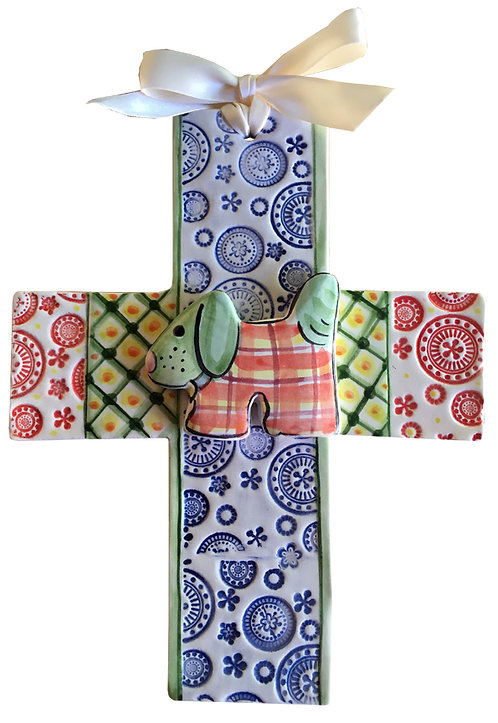dog, baptism, christening,religious, communion, baby, shower, wedding, ceramic, cross