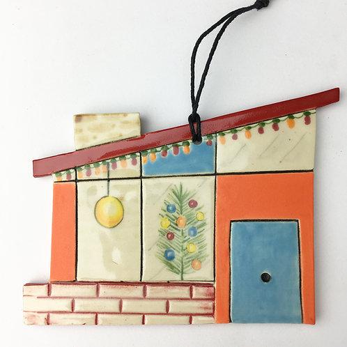 Ceramic Mid Century Modern House Ornament blue Door