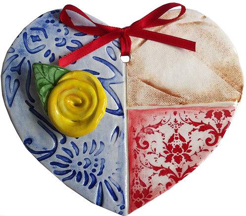 Ceramic Texas Flag Heart (Yellow Rose)
