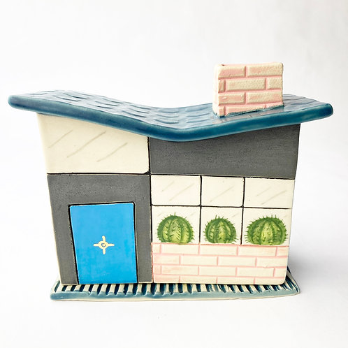 Mid Century Modern Aqua Door House Incense Burner