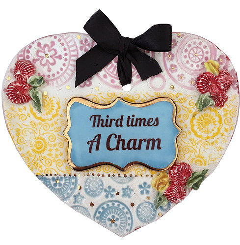 Third Times a Charm Ceramic Heart