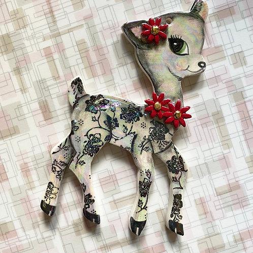 Vintage Style Black Flower Deer Ornament