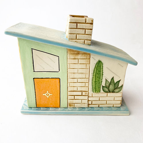 Mid Century Modern Mint House Incense Burner