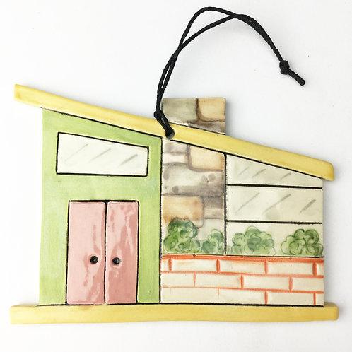 Ceramic Mid Century Modern House Ornament Pink Door