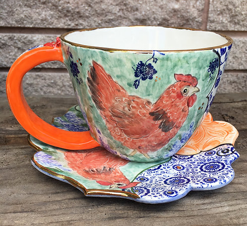 ceramic cup, chicken soup cup, handmade dinnerware, dessert plate, mugs