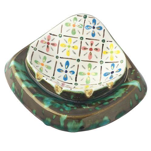 Mid Century Modern Holy Smokes Blanche Ceramic Ashtray