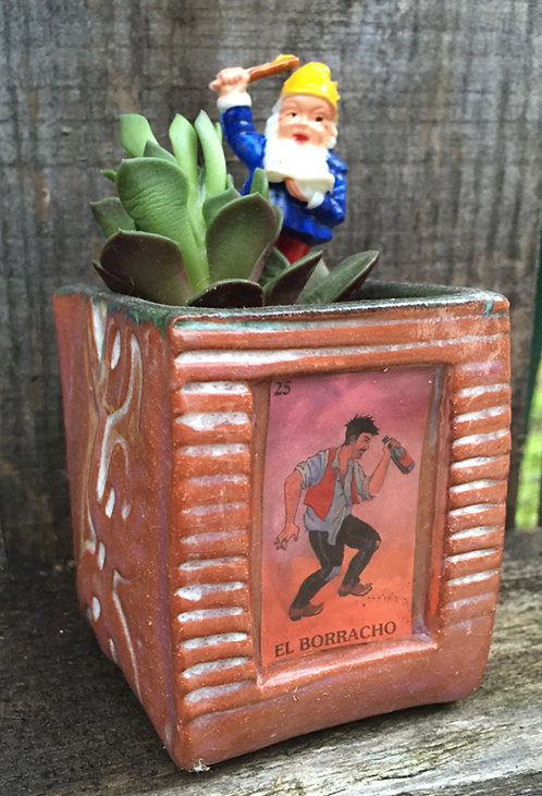 Lotería El Borracho (the drunkard) Succulent Planter