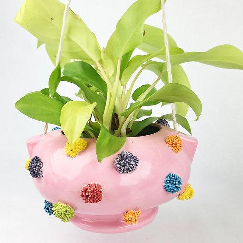 Ceramic Pink Pom Pom Hanging Planter