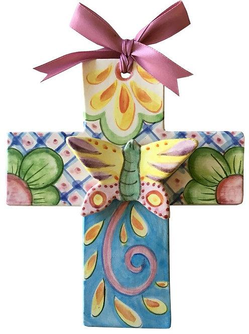 Ceramic, cross, Blue Domino, hand made, gift, Houston, Texas