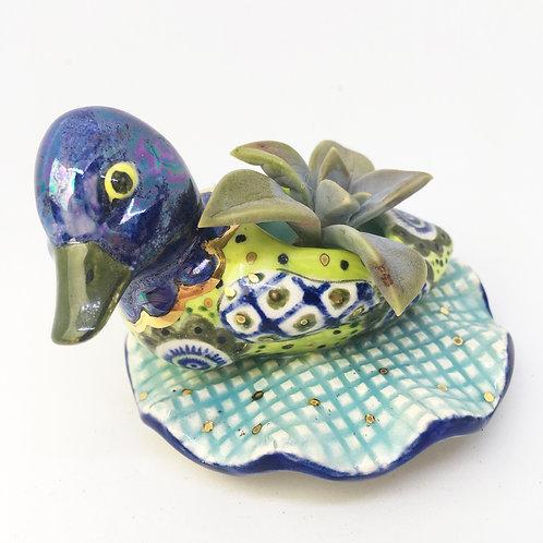 Ceramic Blue Duck Succulent Nursery