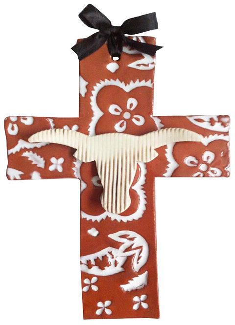 Texas, baptism, christening, religious, communion, longhorns, UT, wedding, ceramic, cross, Austin, Houston, blue domino,