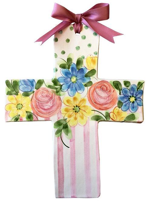 flowers, garden,baptism, christening, religious, communion, baby, shower, wedding, ceramic, cross