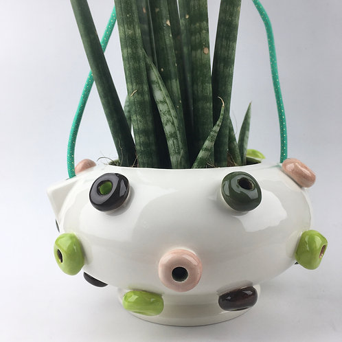 Froot Loop Ceramic Hanging Planter (greens)
