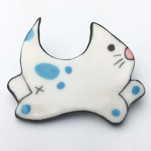 Buhoe Kitty Pins Turquoise Dots