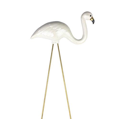 Pearl White Ceramic Flamingo with gold beak