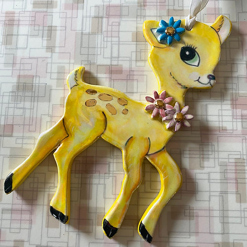 Vintage Style Yellow Deer Ornament