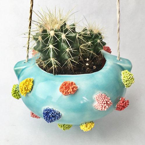 Ceramic Celedon Pom Pom Hanging Planter