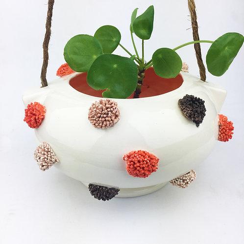 Ceramic Orange/Brown Pom Pom Hanging Planter