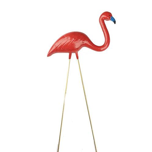 Red Ceramic Flamingo
