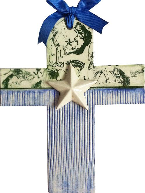 Texas, baptism, christening, religious, communion, fishing, hunting, wedding, ceramic, cross, reel, Houston, blue domino