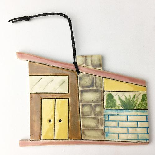 Ceramic Mid Century Modern House Ornament Yellow Door
