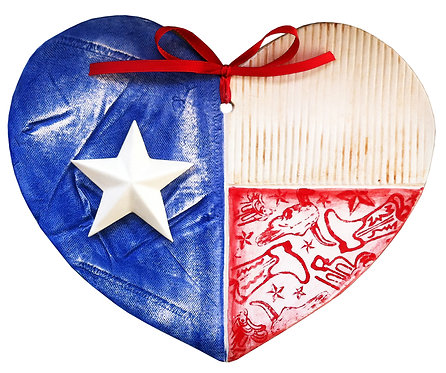 Ceramic Texas Flag Heart (Pride and Joy)