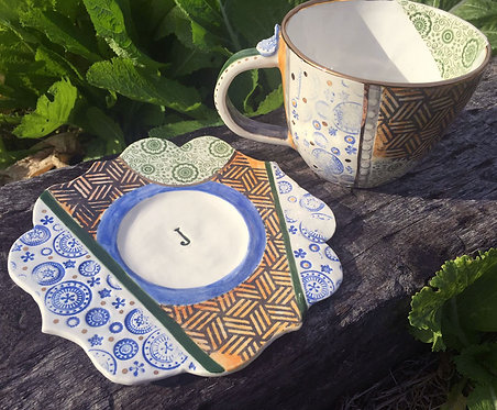 Ceramic Personalized Soup Cup and Plate (There can be only Juan)