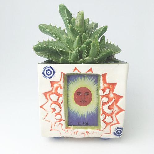 Lotería El Sol (the sun) Succulent Planter
